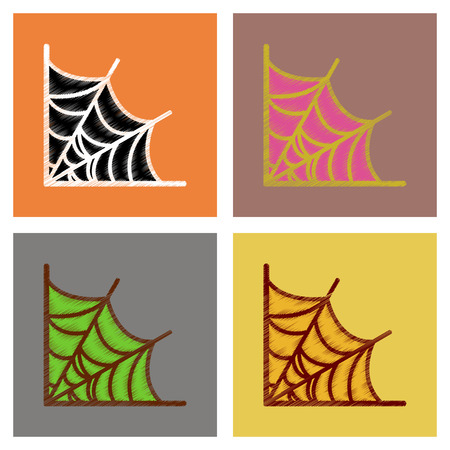 assembly flat shading style icons of spider web Imagens - 105416938