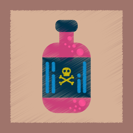 flat shading style icon of potion in bottle