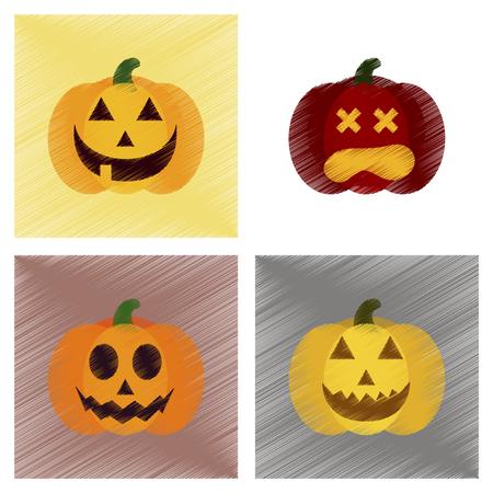 assembly flat shading style icons of halloween pumpkin Векторная Иллюстрация