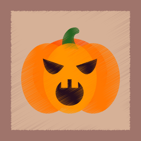 flat shading style icon of halloween pumpkin  イラスト・ベクター素材