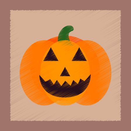 flat shading style icon of halloween pumpkin Иллюстрация