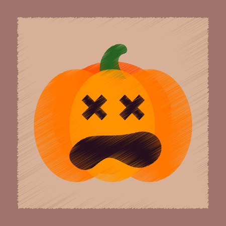 flat shading style icon of halloween pumpkin Иллюстрация
