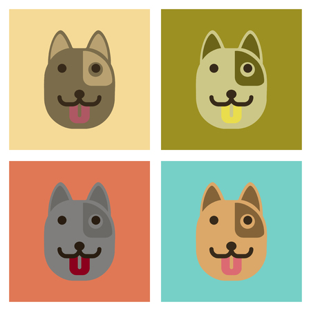 assembly of flat icons animal dog smiles