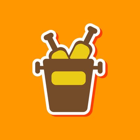 paper sticker on stylish background of bottle bucket