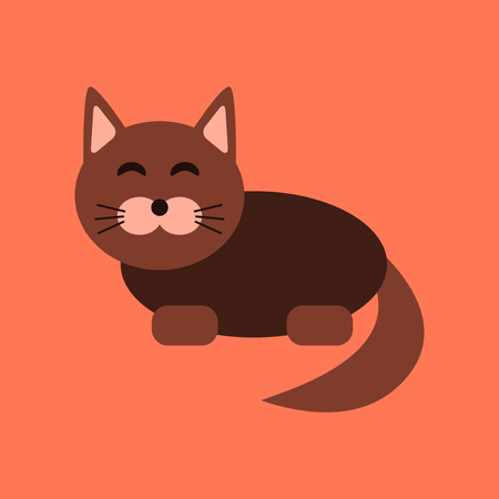 flat icon on stylish background pet cat