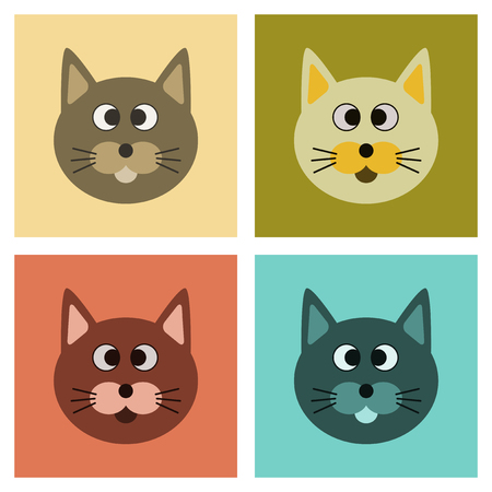 assembly of flat icons domestic pet cat