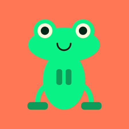 flat icon on stylish background Cute frog cartoon