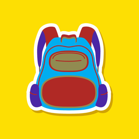 paper sticker on stylish background of school bag Illustration