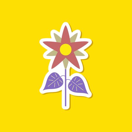 paper sticker on stylish background of flower