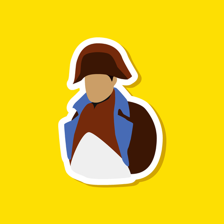paper sticker on stylish background of Napoleon Иллюстрация