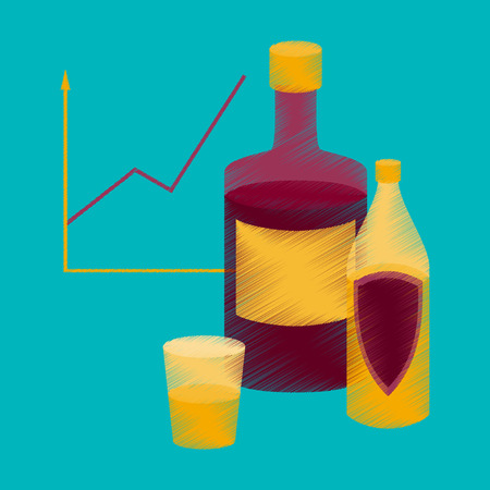 flat shading style icon Alcohol Infographic information