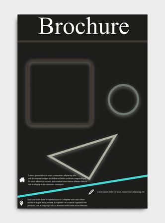 vector business flyer template or corporate banner design with neon on a dark background Ilustração