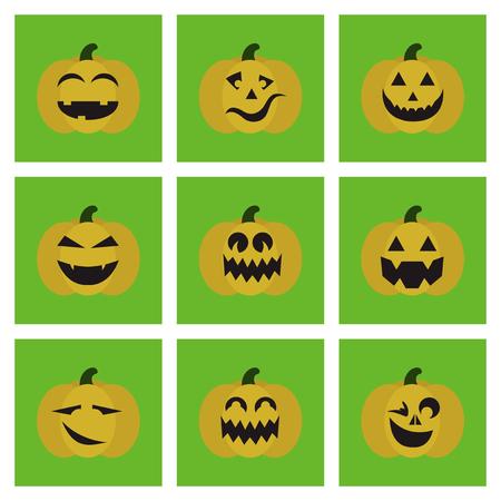 assembly of flat icons halloween emotion pumpkin Иллюстрация