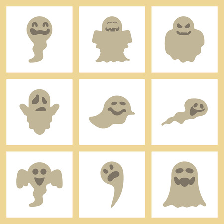 assembly of flat icons Halloween emotions ghost