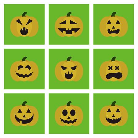 assembly of flat icons halloween emotion pumpkin Векторная Иллюстрация