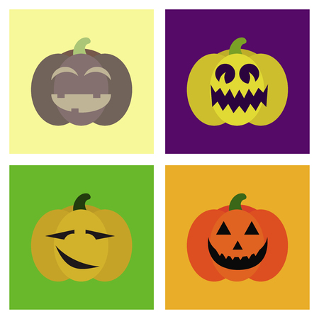 assembly of flat icons halloween emotion pumpkin Иллюстрация
