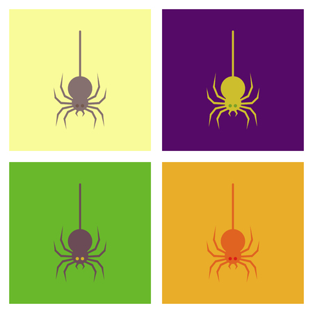 assembly of flat icons halloween spider Illustration