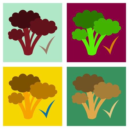 Set of Broccoli. Flat illustration. isolated on background. Fresh Vegetable. Vegetarian food Stock Illustratie