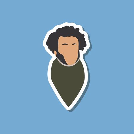 paper sticker on stylish background Alexander Pushkin