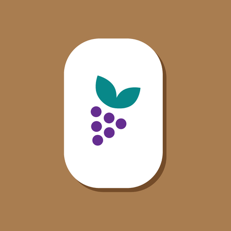 paper sticker on stylish background grapes with leaf