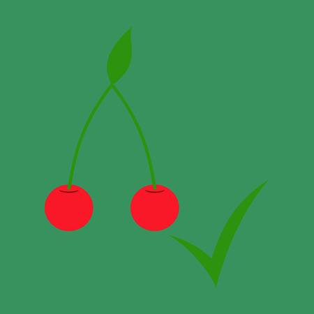 Cherry. Sweet fruit. Flat icon . Realistic illustration Illustration