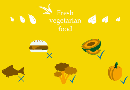 Vegetarian menu for cafe and restaurants. Vegan vegetable labels for natural products.