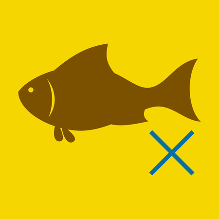 Flat fish drawing. seafood illustration. Great for menu, poster or label.