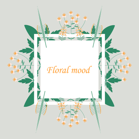 Lettering with leaves: floral mood, Hand sketched card floral mood. Hand drawn floral mood lettering sign. Invitation, banner, postcard.