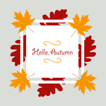 Autumn season banner. Greeting card with inscription Hello, Autumn . Modern design poster