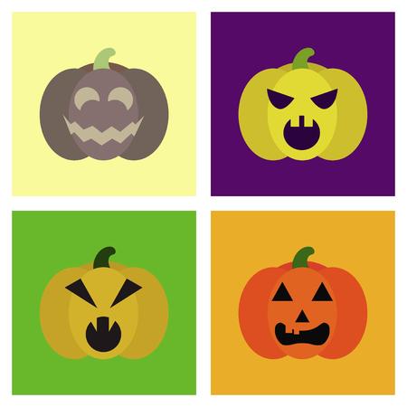 assembly flat icons halloween emotion pumpkin Фото со стока
