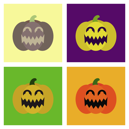 assembly of flat icons halloween emotion pumpkin  イラスト・ベクター素材