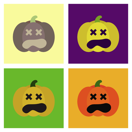 assembly of flat icons halloween emotion pumpkin Illustration