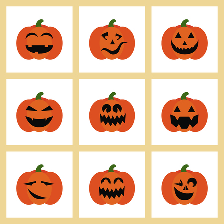 assembly flat icons halloween emotion pumpkin Иллюстрация