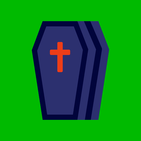 flat icon on stylish background halloween coffin Stock Illustratie