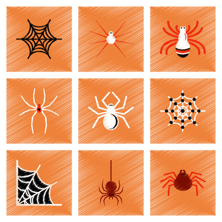 assembly flat shading style icons halloween spider web