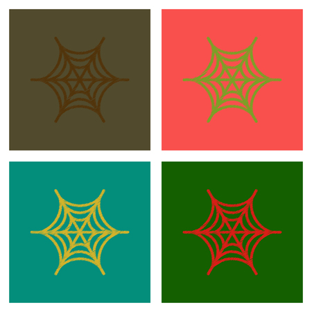 assembly flat shading style icons spider web