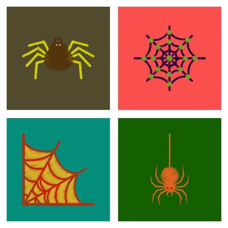 conjunto de iconos de estilo de sombreado plano tela de araña de halloween