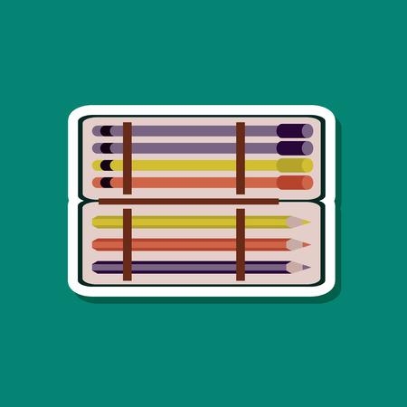 paper sticker on stylish background of pencil box pencil pen