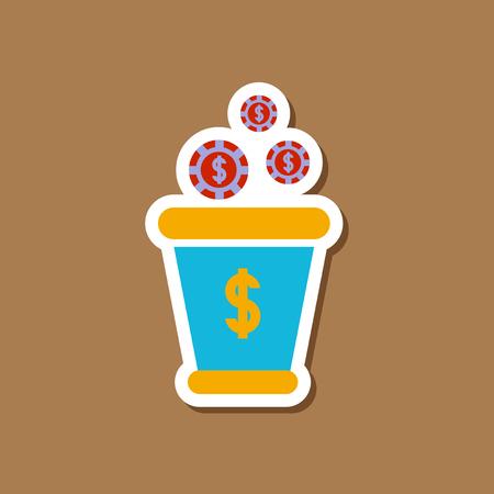 paper sticker on stylish background money bag