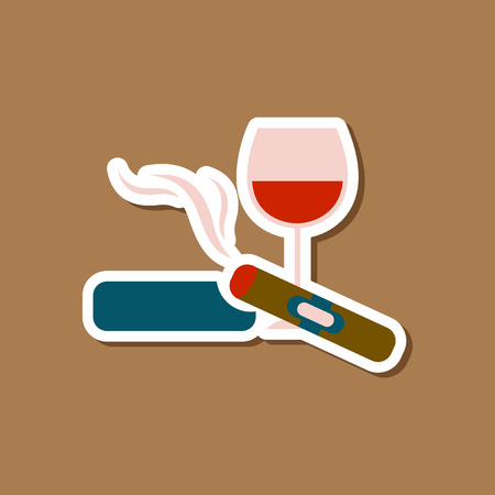 paper sticker on stylish background cigar glass of wine