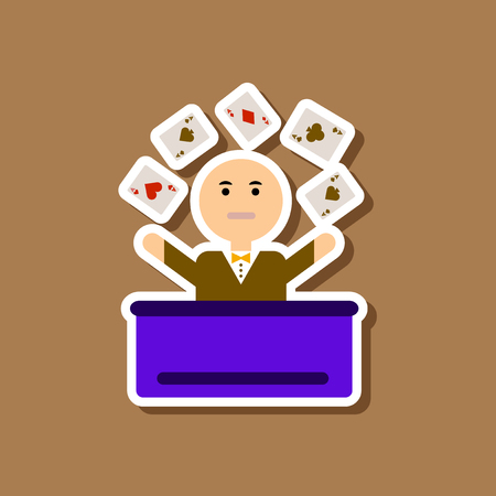 paper sticker on stylish background of poker man player
