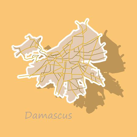 Sticker map Illustration design - Damascus city