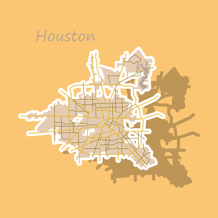 Sticker Map Houston city. Texas Roads Stock Illustratie