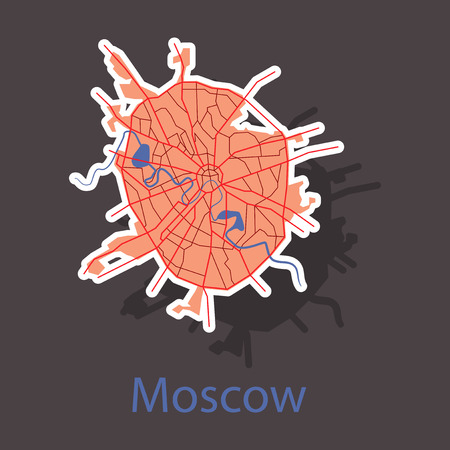 Sticker color map of Moscow. All objects are located on separate layers. Vectores