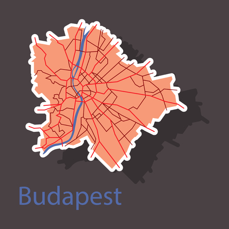 Sticker scheme of the Budapest, Hungary. City Plan of Budapest. Vector illustration