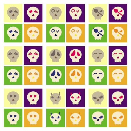 assemblaggio di icone piatte cranio di emozione di halloween