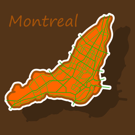 Sticker map of Montreal is a city of Canada, with borders of the regions Illustration