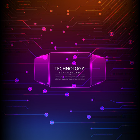 Abstract technology digital hi tech hexagons concept background. Space for your text Stock Photo