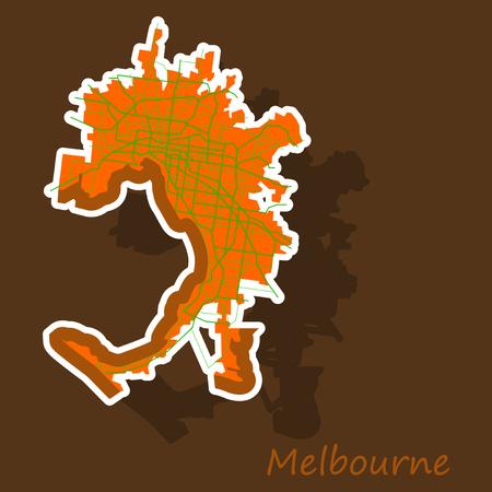 Melbourne Australia Map in Retro Style. Sticker Illustration.