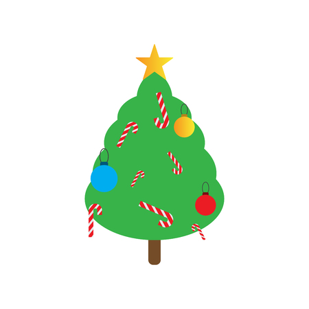 2019 Happy New Year greeting card. Christmas tree in green color. Illustration